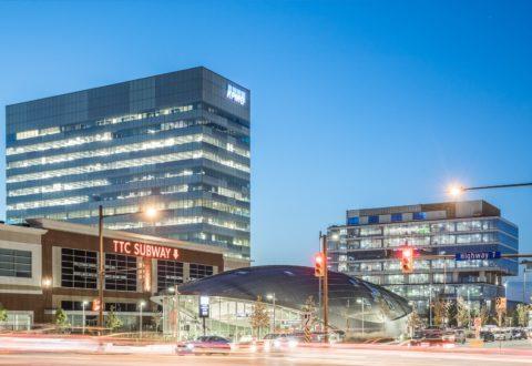 View of Vaughan Metropolitan Centre at dusk