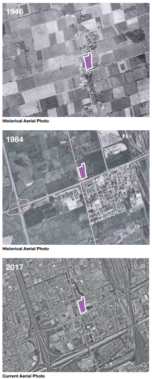 Three aerial images of the Edgeley Pond and Park site in 1946, 1984 and 2017 showing a shift from farmland to urban