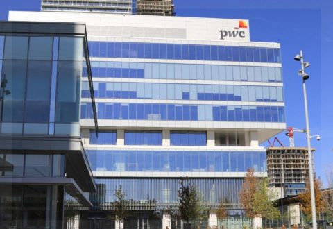 PwC logo on PwC-YMCA Tower in Vaughan