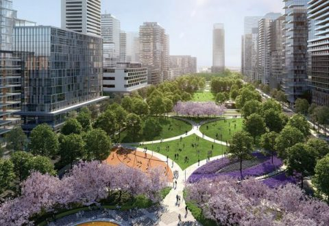Rendering of SmartCentres' Central Park in the Vaughan Metropolitan Centre